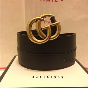 Accessories - Gucci black leather gold double g buckle belt